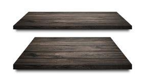 Prateleiras de madeira pretas isoladas no fundo branco Exposição de madeira vazia da prateleira ou do produto Trajeto de grampeam imagens de stock royalty free