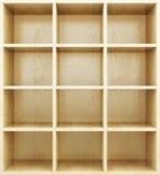 Prateleiras de madeira vazias 3d rendem os cilindros de image Imagem de Stock