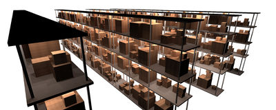 Prateleiras do estoque e do armazém Imagem de Stock