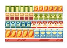 Prateleiras do supermercado com produtos Caixas de papel com alimento Ilustração lisa do vetor isolada no fundo branco ilustração stock