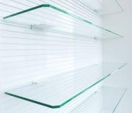 Prateleiras vazias de vidro Fotografia de Stock Royalty Free