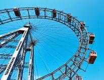 Prater amusement park in Vienna. The Wiener Riesenrad is a Ferris wheel at the entrance of the Prater amusement park in Vienna. Austria Royalty Free Stock Images