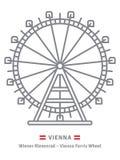 Prater Ferris Wheel at Vienna icon. Austria line icon. Prater ferris wheel at Vienna and Austrian flag vector illustration Royalty Free Stock Photos