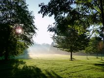 Prater park in morning sunlight royalty free stock photography