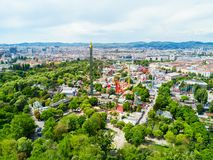 Prater park in Vienna. VIENNA, AUSTRIA - MAY 13, 2017: The Wurstelprater or Wurstel Prater aerial panoramic view. Wurstelprater is an amusement park and section royalty free stock photo