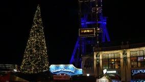 Prater wheel at night - Christmas,  Wiener Riesenrad stock video footage