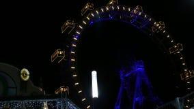 Prater wheel at night - Wiener Riesenrad ,Vienna stock video
