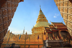 Prathat hariphunchai important religious landmark destination in Royalty Free Stock Photography