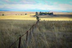 Prati e casa soli dell'azienda agricola in un paesaggio australiano Immagine Stock Libera da Diritti