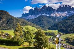 Prati ed azienda agricola alpini verdi Fotografia Stock
