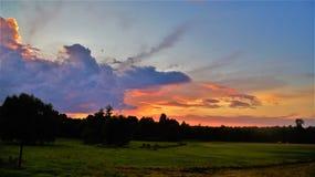 Prati polacchi e campi su una sera di estate fotografia stock libera da diritti