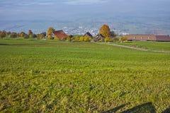 Prati verdi sopra il lago Lucerna, alpi, Svizzera Fotografie Stock Libere da Diritti