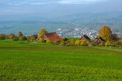 Prati verdi sopra il lago Lucerna, vicino al supporto Rigi, alpi, Svizzera Fotografia Stock Libera da Diritti