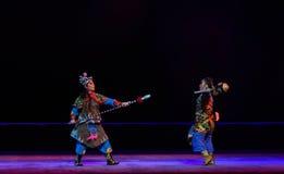 "Pratia and pike fight--Peking opera ""Little Worriors of Yeuh's family"" Royalty Free Stock Image"
