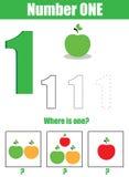 Pratica della scrittura a mano Apprendimento matematica e dei numeri Numero uno… Fotografia Stock Libera da Diritti