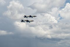 Pratica di angeli blu della marina statunitense Pensacola Florida luglio 2018 fotografie stock