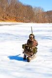 Pratica di obiettivo di inverno Fotografie Stock
