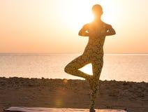 Pratica di yoga ad alba. Posa dell'albero Immagini Stock