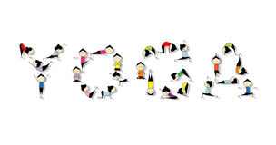 Pratica di yoga, concetto per il vostro disegno Immagini Stock Libere da Diritti