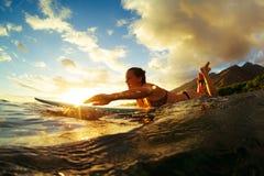 Praticando il surfing al tramonto Fotografia Stock