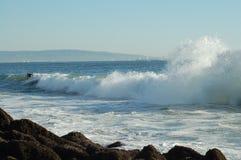 Praticando il surfing alla spiaggia di Venezia immagine stock libera da diritti