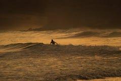 Praticando il surfing nel tramonto Fotografia Stock