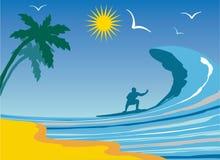 Praticare il surfing. illustrazione vettoriale