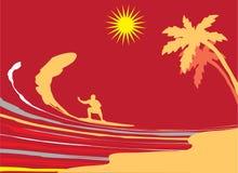 Praticare il surfing. royalty illustrazione gratis