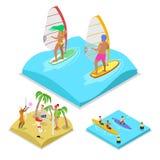 Praticare il surfing all'aperto, kayak e beach volley isometrici di attività Stile di vita e ricreazione sani Fotografia Stock