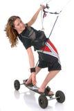Praticare il surfing del cervo volante della scheda della montagna Fotografie Stock