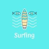 Praticare il surfing del modello di logo Fotografia Stock Libera da Diritti