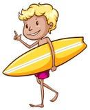 Praticare il surfing del ragazzo Fotografia Stock