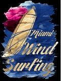 Praticare il surfing del vento di Miami Beach Fotografie Stock