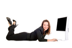 Praticare il surfing della donna di affari Immagine Stock