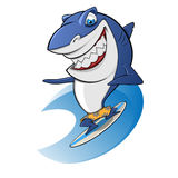 Praticare il surfing dello squalo illustrazione vettoriale