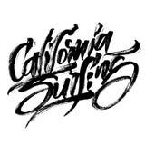 Praticare il surfing di California Iscrizione moderna della mano di calligrafia per la stampa di serigrafia Fotografia Stock Libera da Diritti