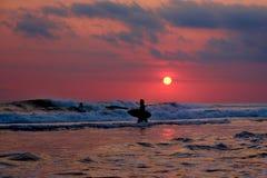 Praticare il surfing di tramonto - Bali, Indonesia Fotografia Stock