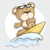 PRATICARE IL SURFING DIVERTENTE DELL'ORSO royalty illustrazione gratis