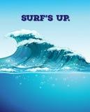 Praticare il surfing ed onde illustrazione vettoriale