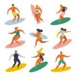 Pratichi il surfing le ragazze ed i ragazzi che praticano il surfing nell'insieme del mare stile 70s royalty illustrazione gratis