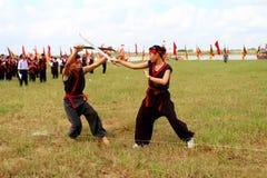 Praticiens d'arts martiaux par Photographie stock libre de droits