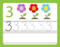 Pratique en matière d'écriture Étude des nombres avec les caractères mignons Numéro trois Fiche de travail imprimable éducative p Images stock