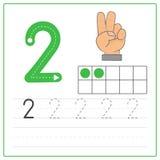 Pratique en matière 2 d'écriture de nombre Photo stock
