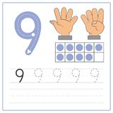 Pratique en matière 9 d'écriture de nombre Photos stock