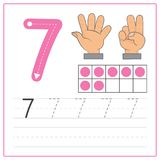 Pratique en matière 7 d'écriture de nombre Image libre de droits