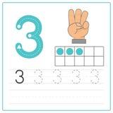 Pratique en matière 3 d'écriture de nombre Photo stock