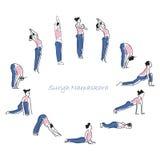 Pratique en matière d'asana de yoga avec le symbole de l'OM dans l'illustration de vecteur de lotus Photos libres de droits