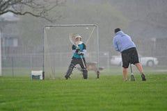 Pratique en matière de gardien de but de Lacrosse Image libre de droits