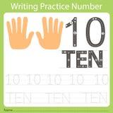 Pratique en matière numéro dix d'écriture de fiche de travail illustration libre de droits