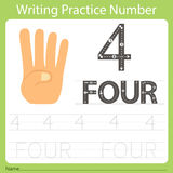 Pratique en matière numéro quatre d'écriture de fiche de travail Images stock